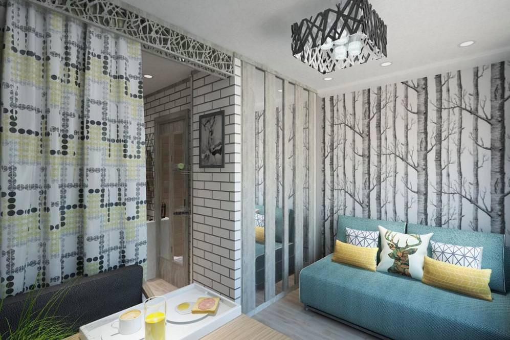 Papier peint avec des arbres sur le mur d'un petit salon