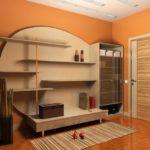 Conception de couloir avec des murs orange