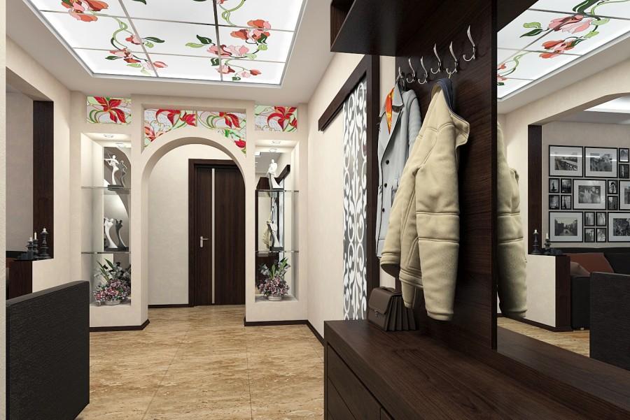 Vitraux dans la conception du hall d'entrée de l'appartement