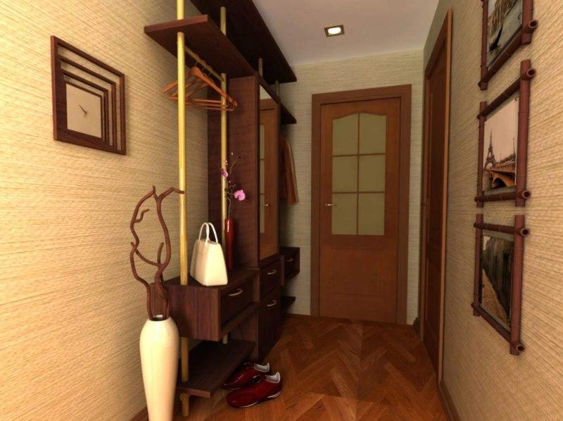 Papier peint en vinyle sur les murs du couloir de l'appartement