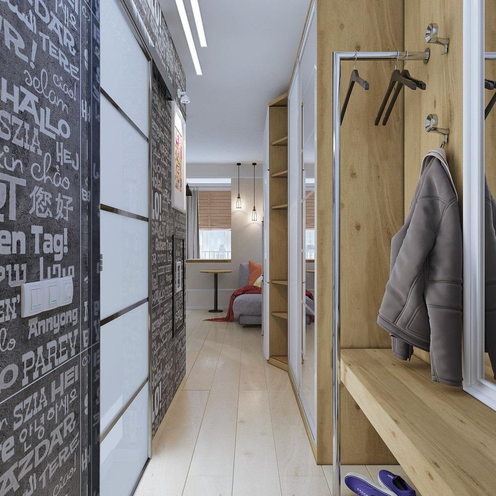 Petit hall d'entrée dans un petit appartement