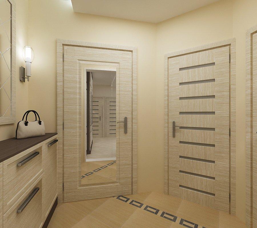 Porte d'entrée de l'appartement avec miroir