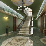 Intérieur de la salle avec des murs verts