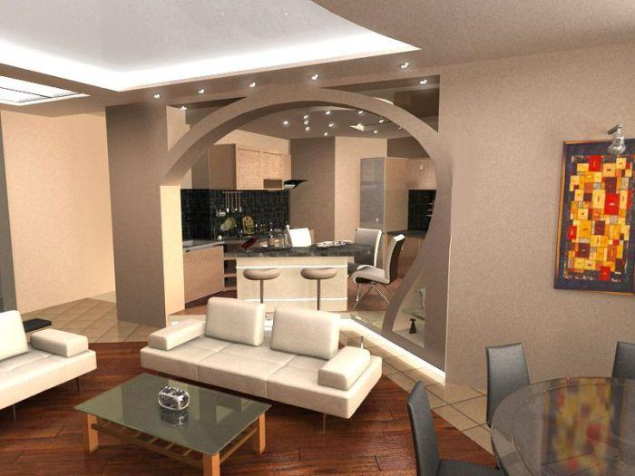 Một vòm giữa nhà bếp và phòng khách.