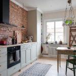 Papier peint en brique dans la cuisine de style loft