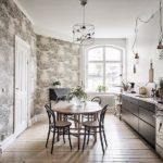 Papier peint à l'intérieur de la cuisine de style scandinave