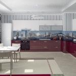 Conception de cuisine d'angle de grande surface
