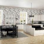 Papier peint sur le mur de la cuisine avec des fenêtres sans rideaux