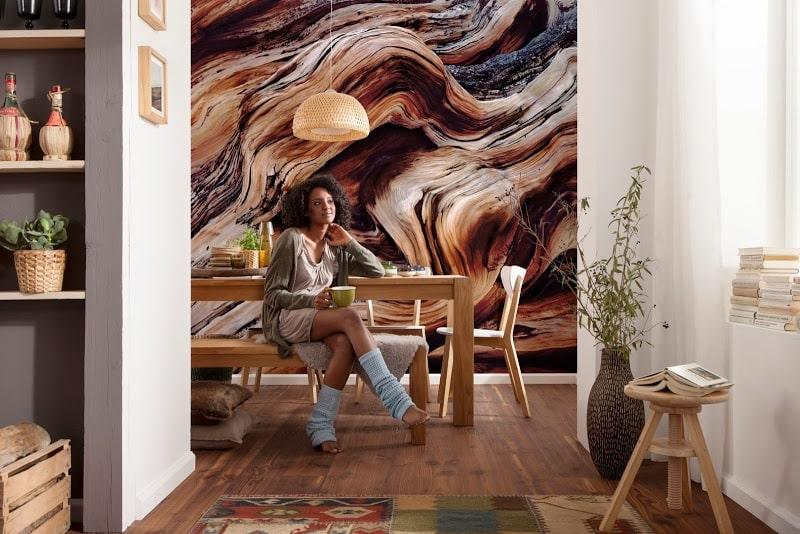 Beau papier peint avec impression photo dans la salle à manger de la cuisine