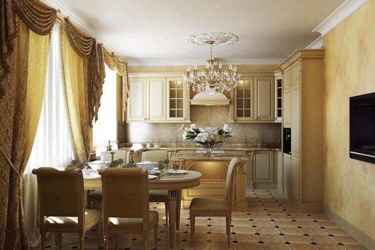 Rideaux à la mode à l'intérieur de la cuisine dans le style des classiques