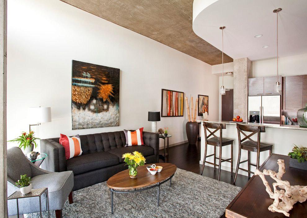 Progetto Di Una Cucina Soggiorno Di 20 Mq Foto Con Suddivisione In Zone Della Stanza Opzioni Interne