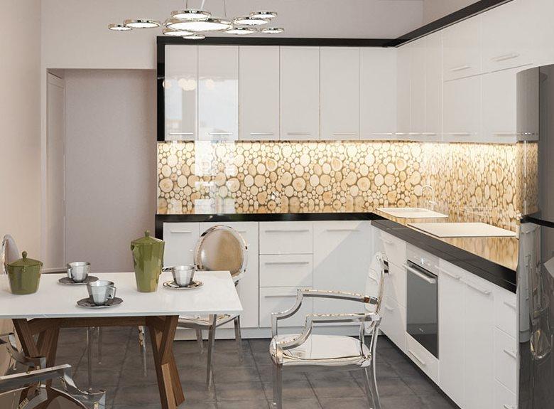 Design de bucătărie în colț eco-stil