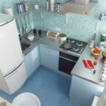 Tigla albastră pe podeaua bucătăriei