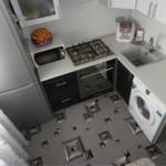 Bucătărie în colț cu frigider pentru geamuri