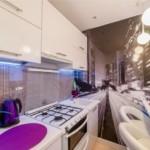Oraș de noapte pe picturile murale din bucătărie