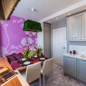 Điểm nhấn màu tím trong thiết kế nhà bếp