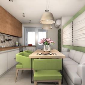 Thiết kế bếp hẹp theo phong cách hiện đại.