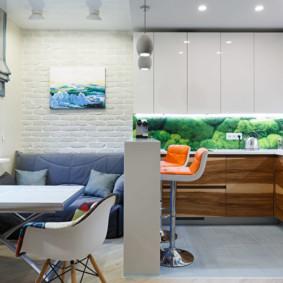 Quầy bar trong vai trò của một vách ngăn phòng khách nhà bếp