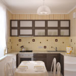 Papier peint à rayures sur le mur de la cuisine à Khrouchtchev