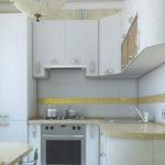 Bande jaune sur un tablier de cuisine