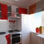 Ensemble rouge et blanc pour une cuisine moderne