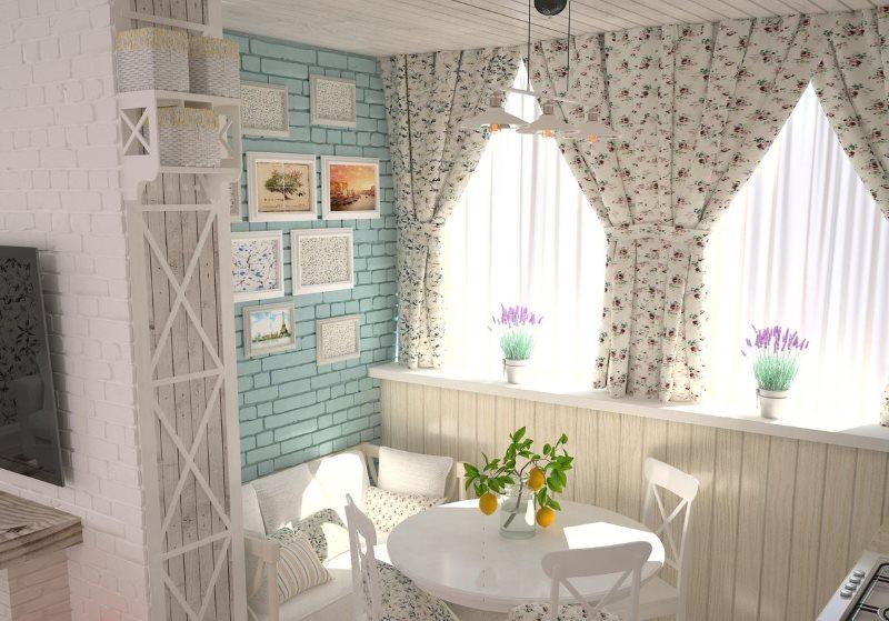 Khu vực ăn uống nhà bếp ấm cúng với rèm cửa đẹp
