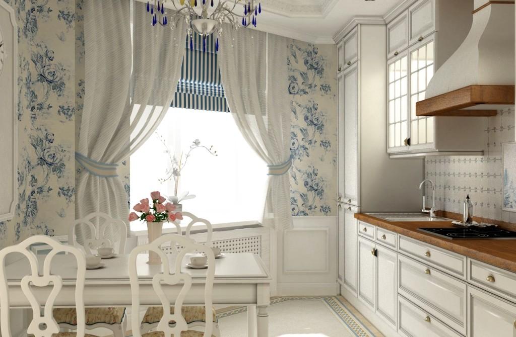 أنواع مختلفة من الستائر على نافذة المطبخ مع شرفة