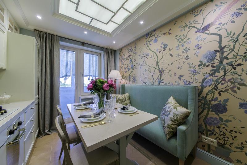 Thiết kế bếp 9 m2 với ghế sofa hẹp