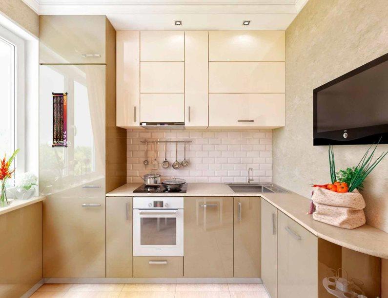 Bucătărie compactă colț bej