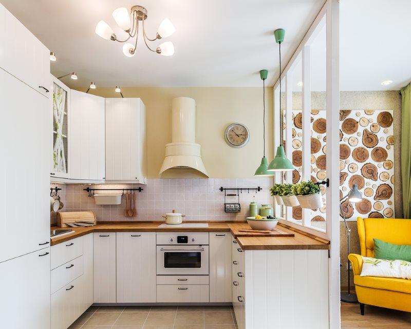 Bố trí hình chữ U của nơi làm việc trong phòng khách nhà bếp