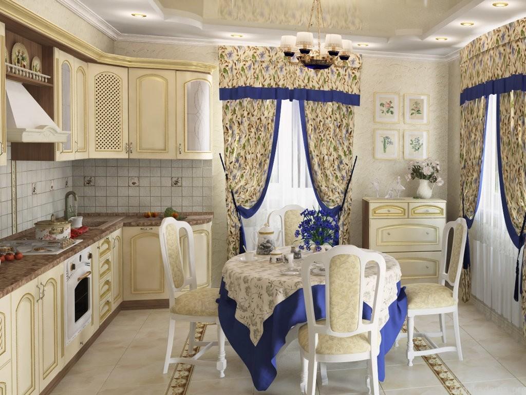 المنسوجات في الداخل من المطبخ الكلاسيكي
