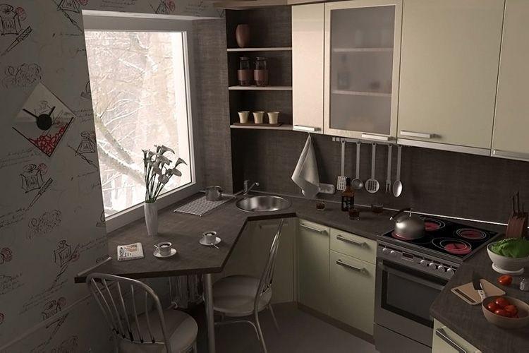 Table au lieu du rebord de la fenêtre dans la cuisine de Khrouchtchev
