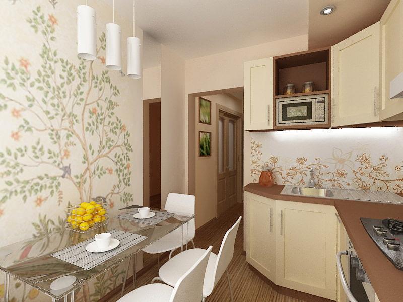 Petite cuisine Khrouchtchev avec du papier peint sur le mur
