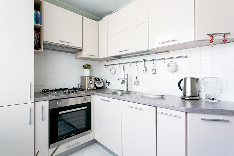 Colț în stil modern pentru o bucătărie de 6 metri pătrați