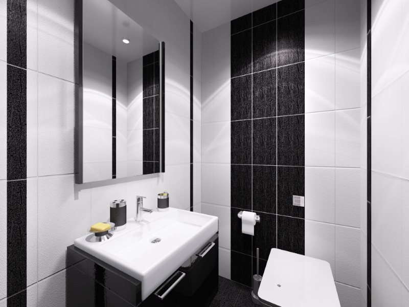 Intérieur noir et blanc d'une petite toilette