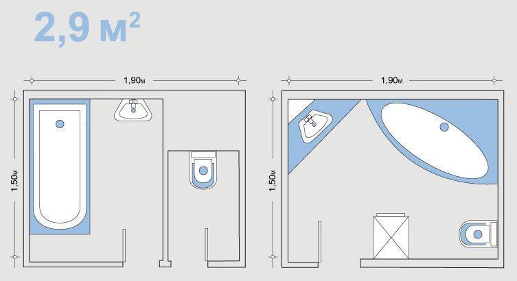 Dessin de la salle de bain avant et après combinaison avec les toilettes