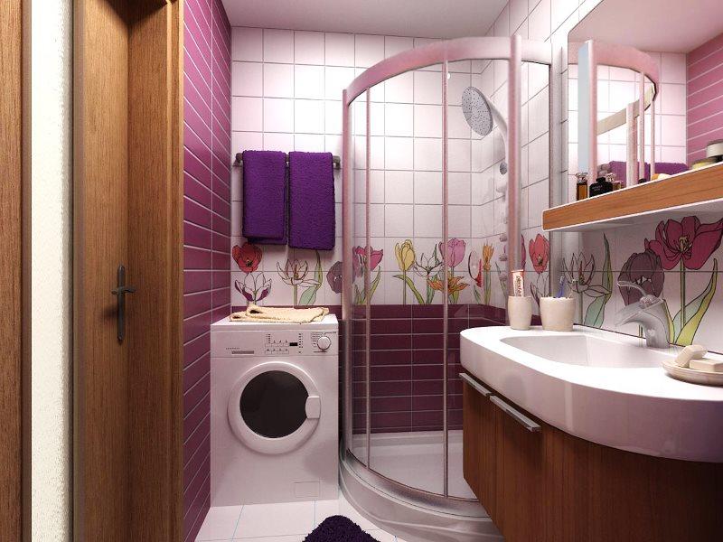 Douche d'angle dans la salle de bain de Khrouchtchev
