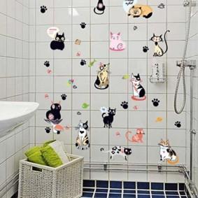 ديكور ملصقات الحائط في الحمام