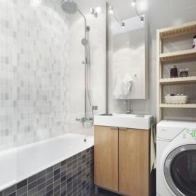 Phòng tắm nhỏ có máy giặt