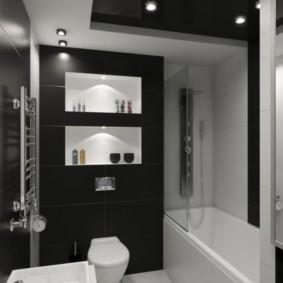 Màu đen trong thiết kế phòng tắm