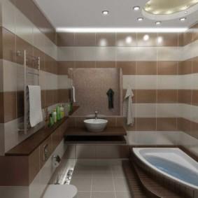 Gạch gốm nâu trong phòng tắm