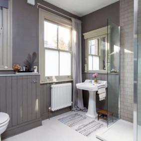 Nội thất phòng tắm màu xám
