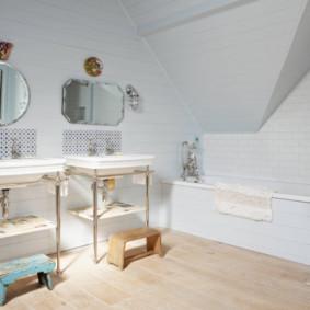 Giá đỡ bằng gỗ cho chậu rửa trong phòng tắm