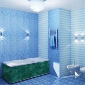 Tấm màu xanh trong nội thất phòng tắm