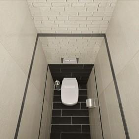 Plancher noir dans les toilettes avec des murs blancs
