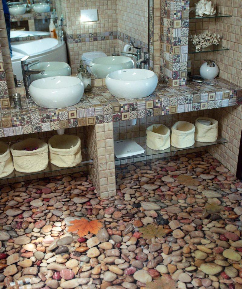 Galets sur le sol de la salle de bain