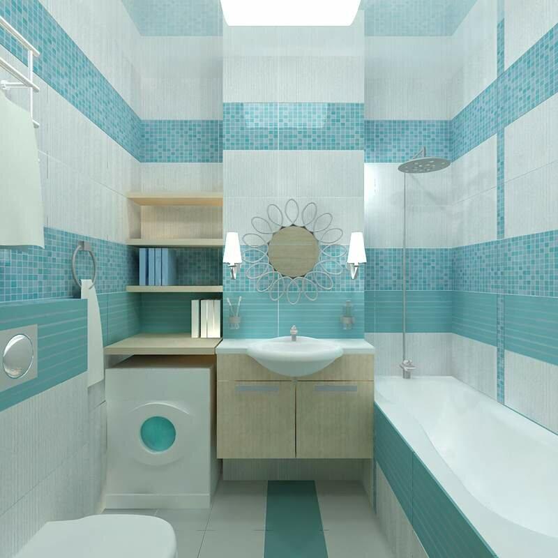 Gạch màu ngọc lam nhỏ trên tường của một phòng tắm nhỏ gọn