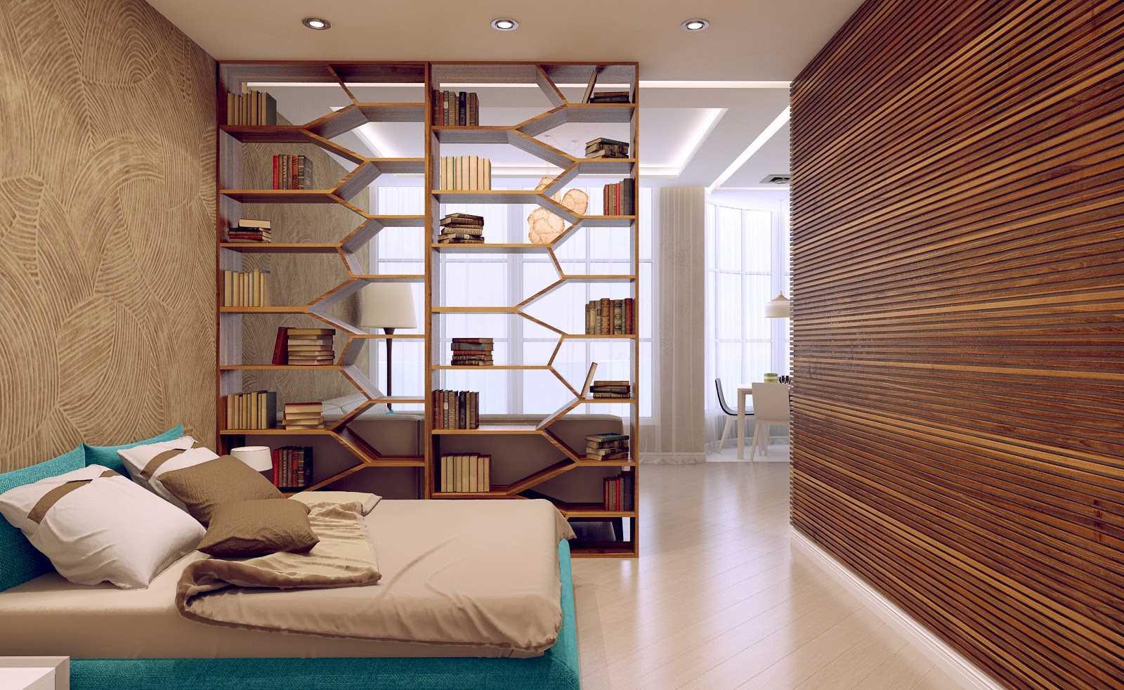 chambre-salon 18 m² zonage des étagères