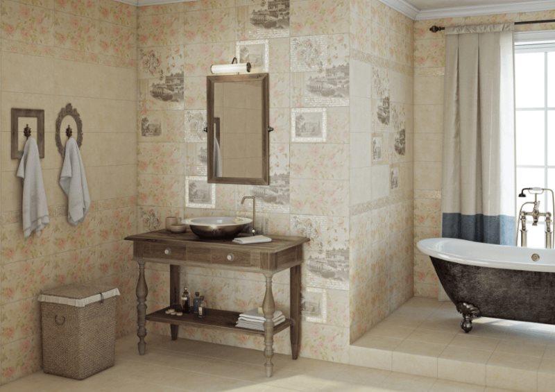 Trang trí tường gốm trong phòng tắm của một ngôi nhà nông thôn