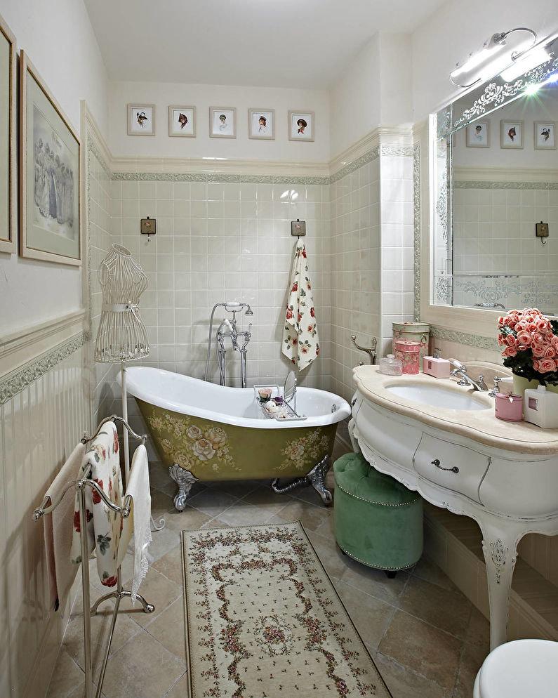 Sàn phòng tắm bằng gốm với đồ cổ